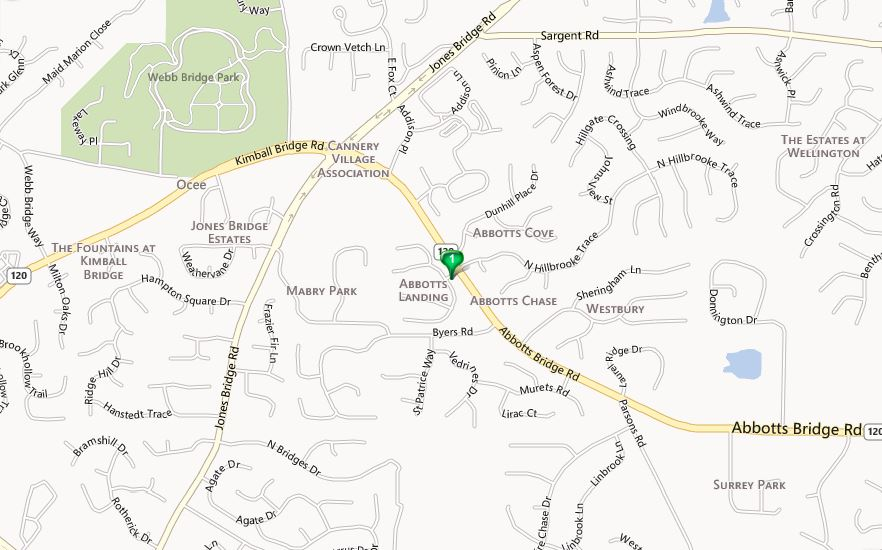 Johns Creek Map-Abbotts Landing Neighborhood Location