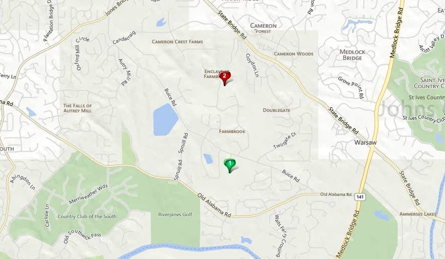 Johns Creek GA Map Farmbrook Location