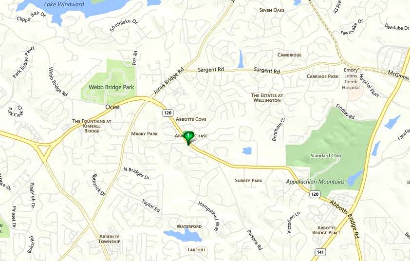 Johns Creek GA Map Byers Landing Location